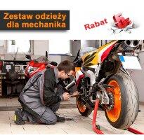 Zestaw odzieży roboczej dla mechanika: buty, spodnie, rękawice, t-shirt